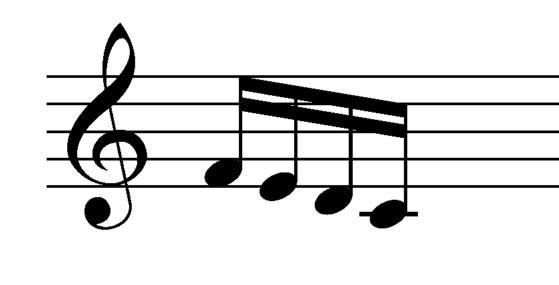 F-E-D-C 16th notes