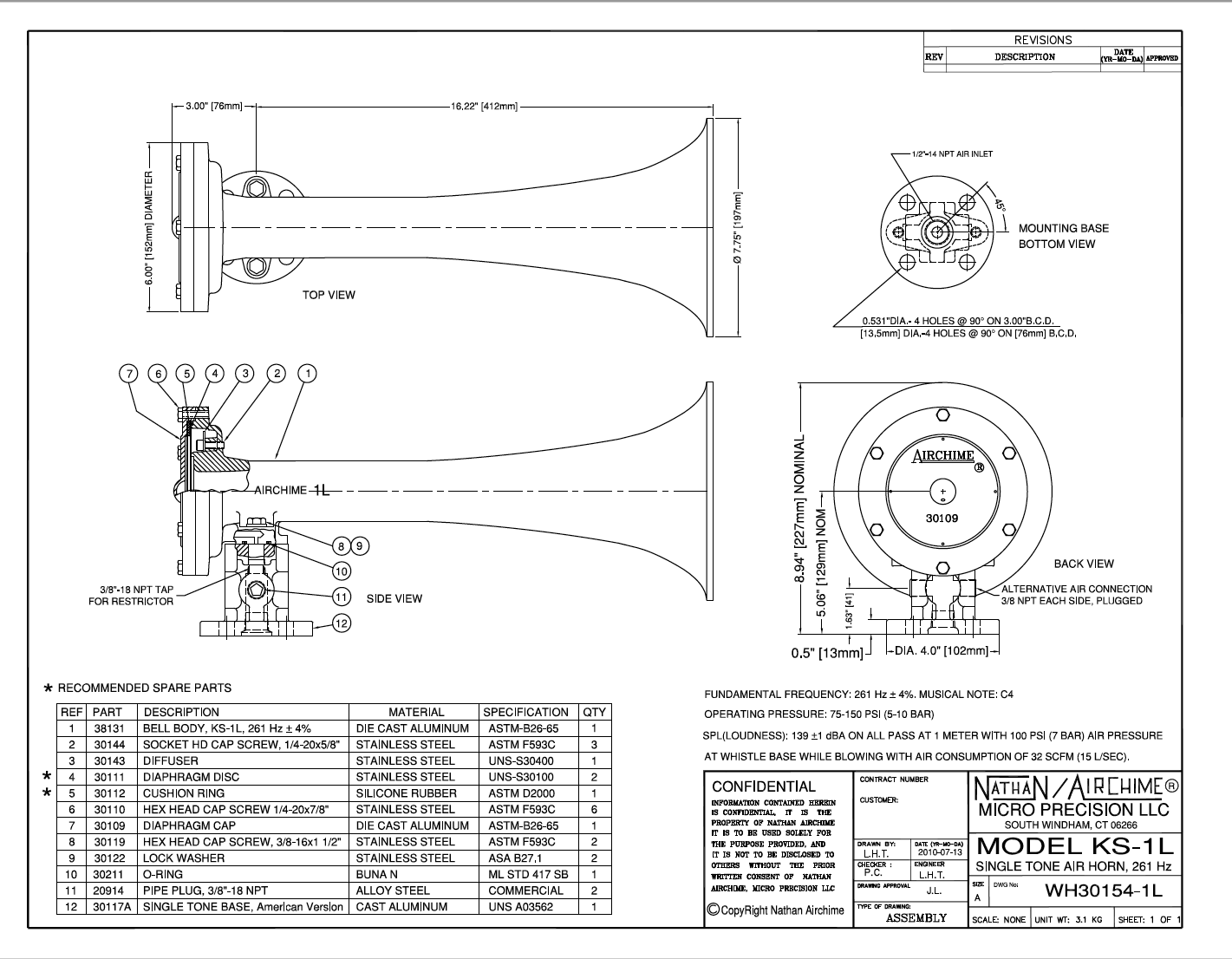 Nathan Airchime KS-1L Train horn